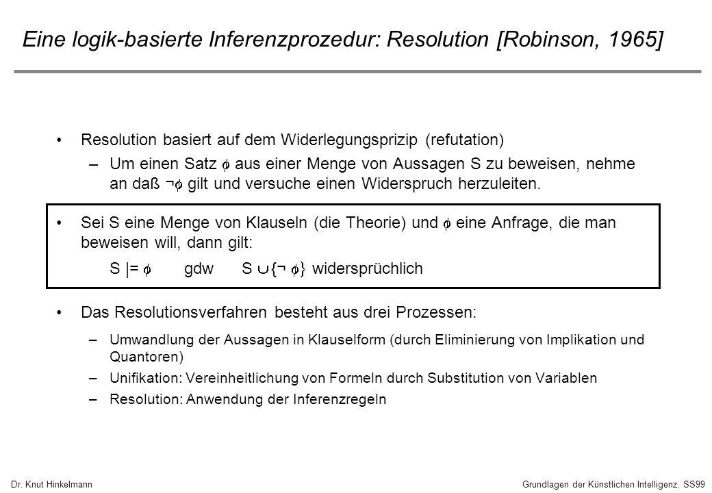 Eine logik-basierte Inferenzprozedur: Resolution [Robinson, 1965]